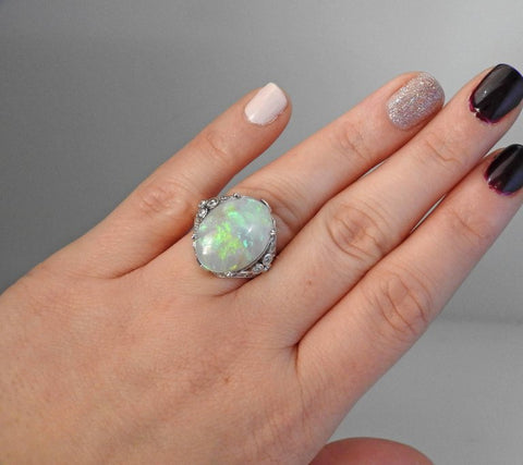 image of Opal Diamond Gold Cocktail Ring
