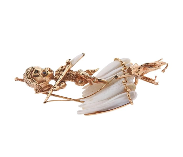 thumbnail image of Ruser Retro Gold Pearl Sapphire Fishing Cherub Brooch