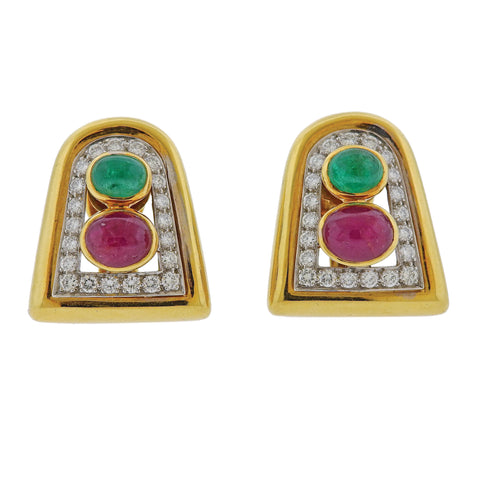 image of David Webb Emerald Ruby Diamond Gold Platinum Earrings