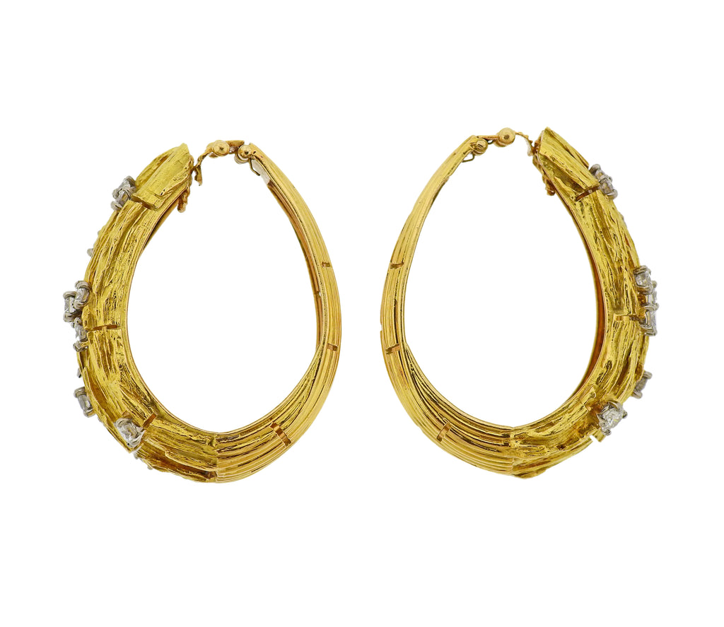 thumbnail image of 1970s Diamond Gold Hoop Earrings