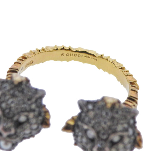 image of Gucci Le Marche Des Marveilles Gold Silver Diamond Feline Head Ring