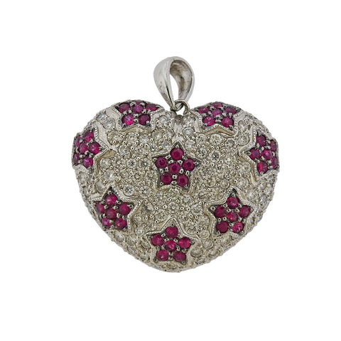 image of 18K Gold Pave Diamond Pink Sapphire Heart Pendant