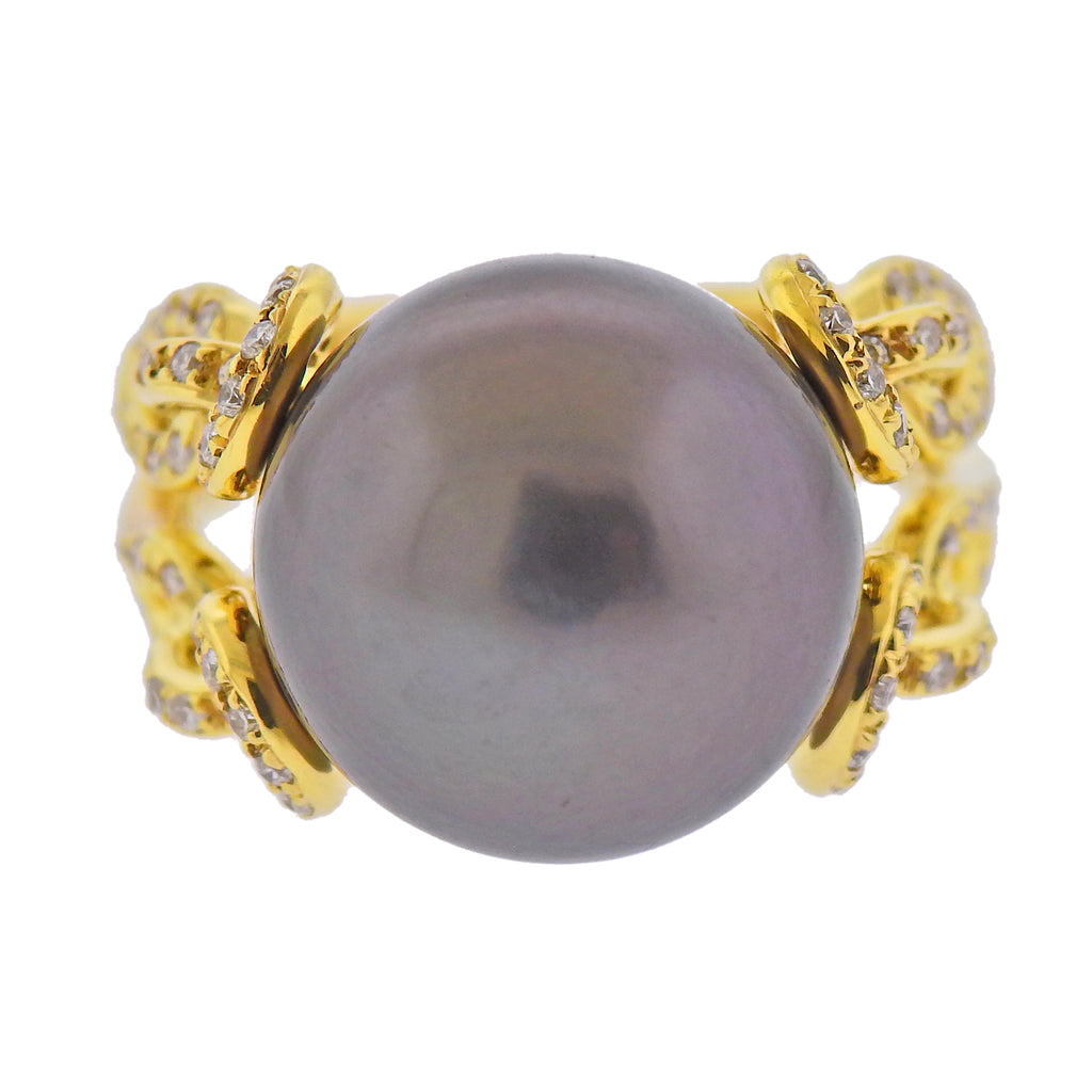 thumbnail image of Assael South Sea Tahitian Pearl Diamond Gold Cocktail Ring