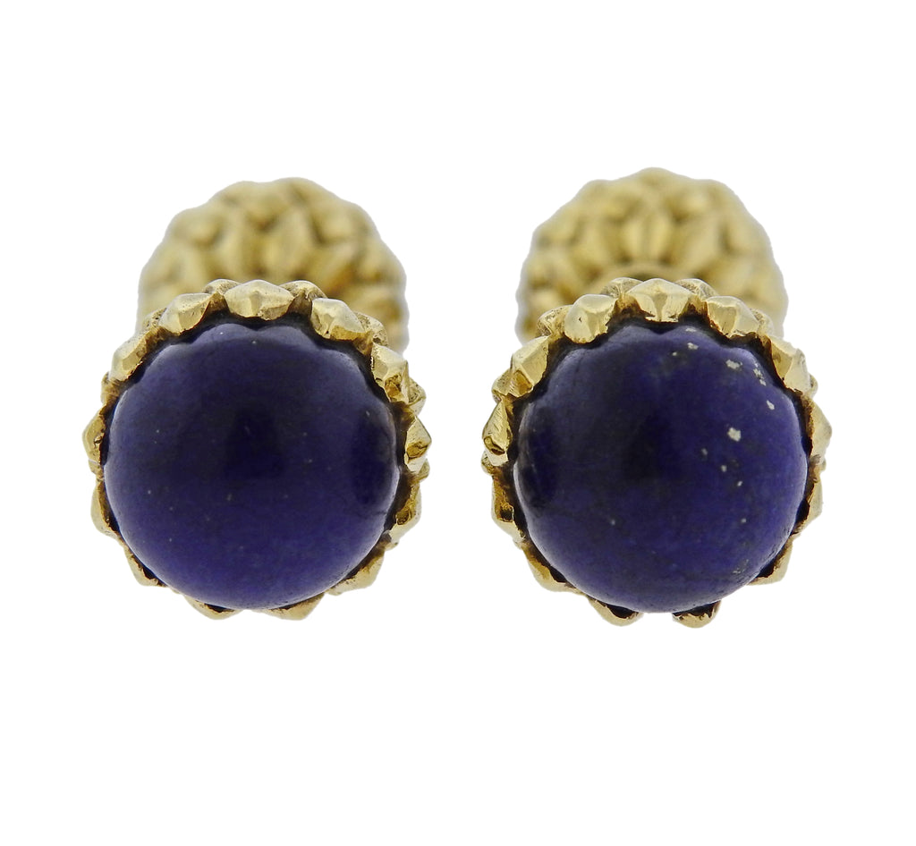 thumbnail image of Tiffany & Co Schlumbeger Lapis Gold Acorn Cufflinks