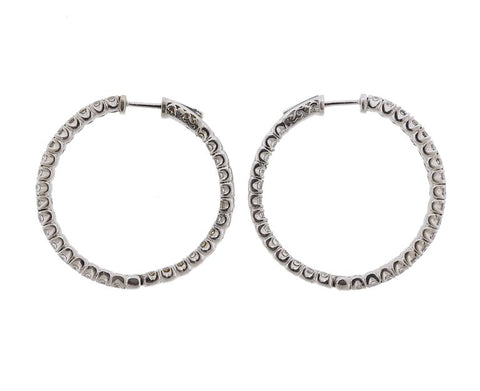 image of Inside Out Diamond Gold Hoop Earrings