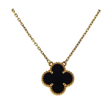 image of Van Cleef & Arpels Alhambra Gold Onyx Pendant Necklace