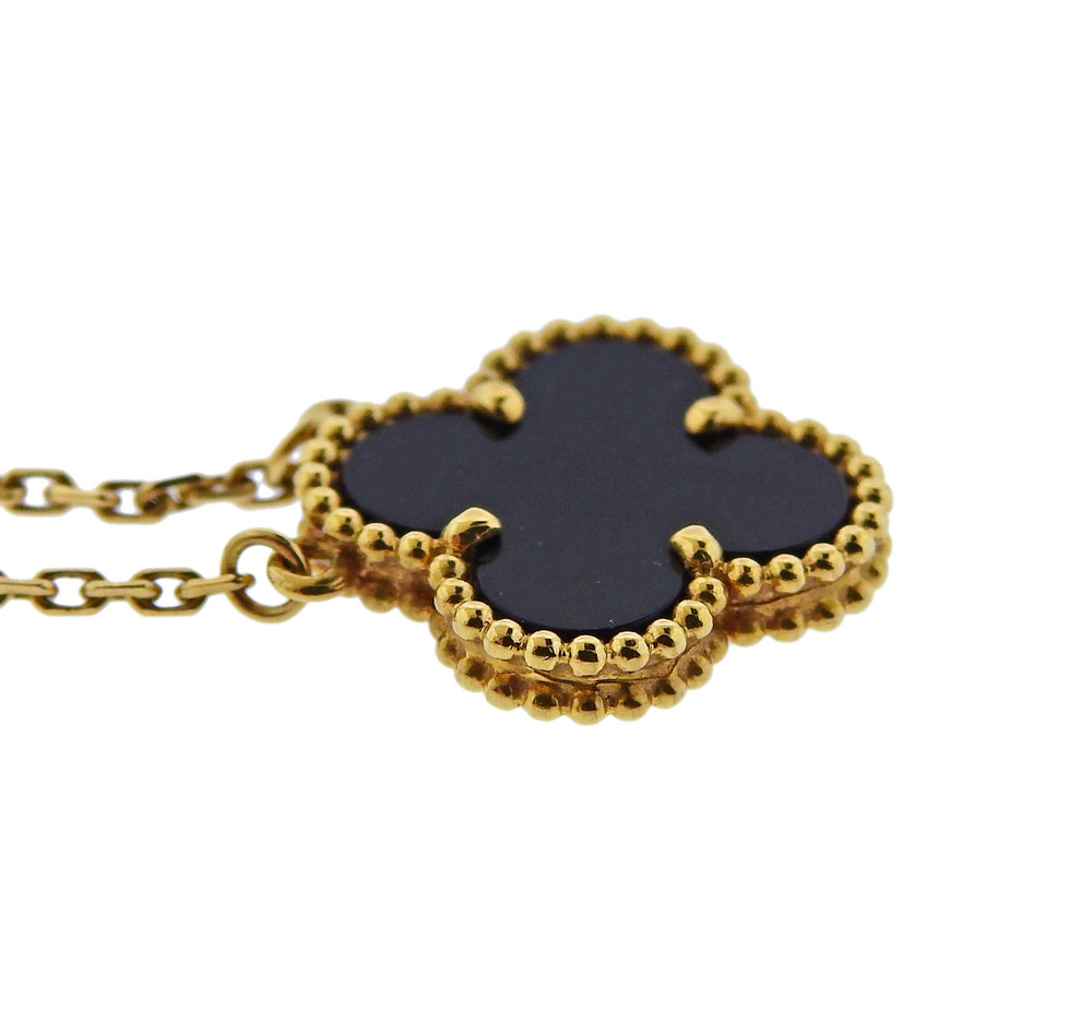 thumbnail image of Van Cleef & Arpels Alhambra Gold Onyx Pendant Necklace