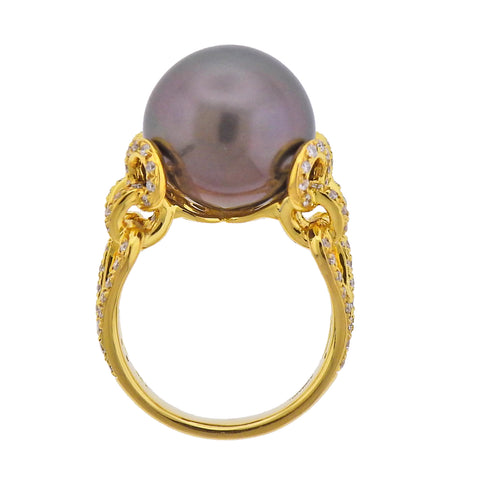 image of Assael South Sea Tahitian Pearl Diamond Gold Cocktail Ring
