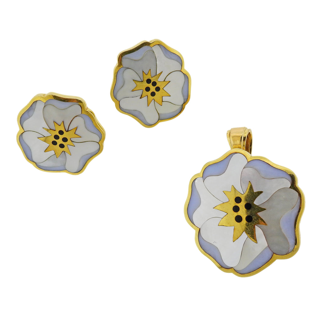 thumbnail image of Tiffany & Co Chalcedony Onyx Inlay Gold Flower Earrings Pendant Brooch Set