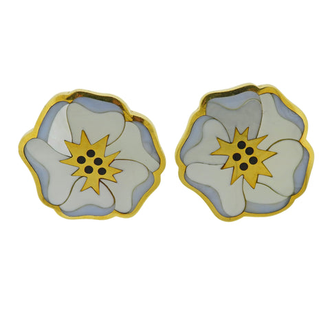 image of Tiffany & Co Chalcedony Onyx Inlay Gold Flower Earrings Pendant Brooch Set