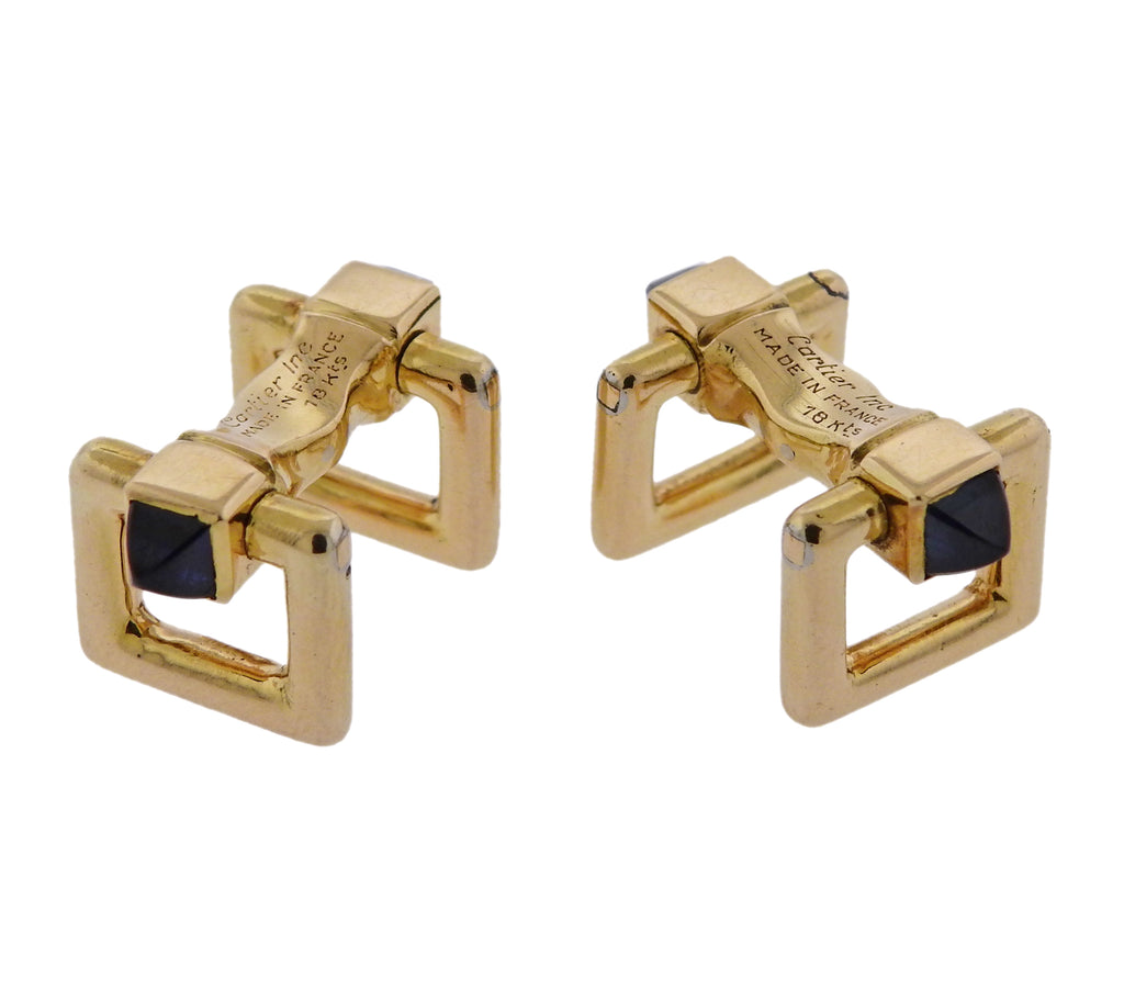 thumbnail image of Cartier France Sapphire Gold Stirrup Cufflinks