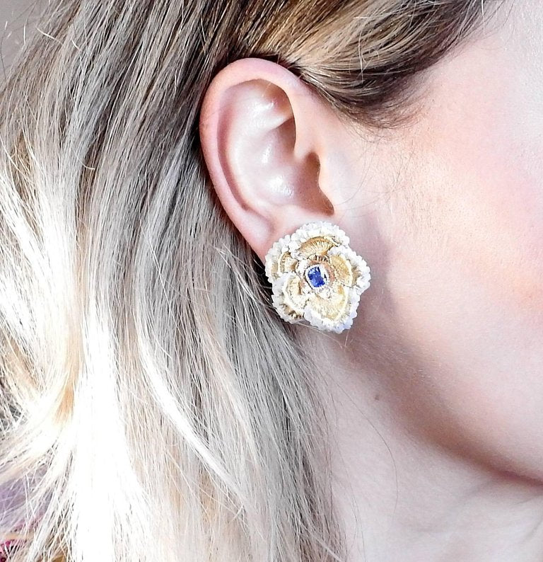 thumbnail image of Buccellati Sapphire Gold Flower Earrings