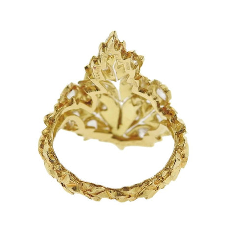 image of Buccellati Rose Cut Diamond Leaf Gold Ring