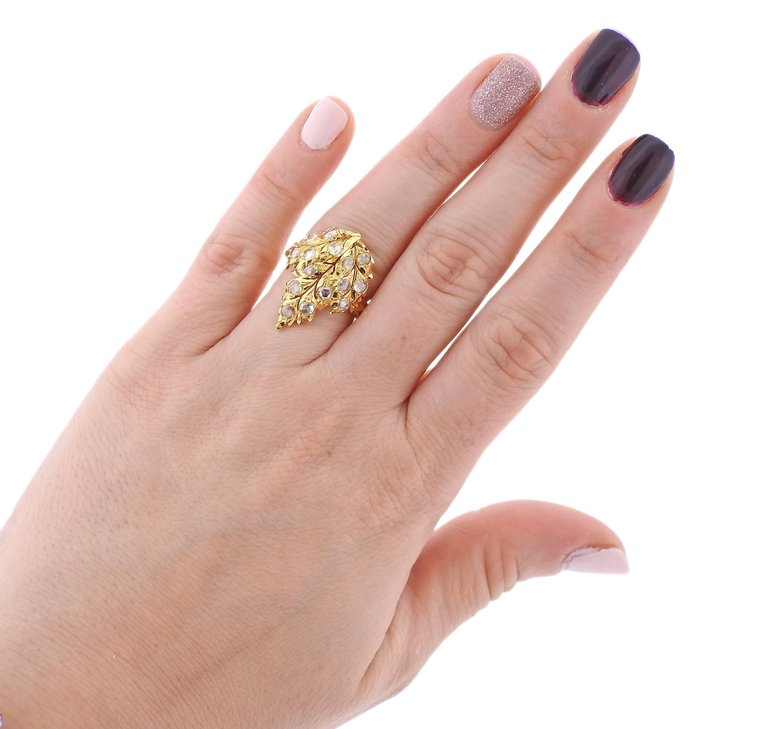 thumbnail image of Buccellati Rose Cut Diamond Leaf Gold Ring