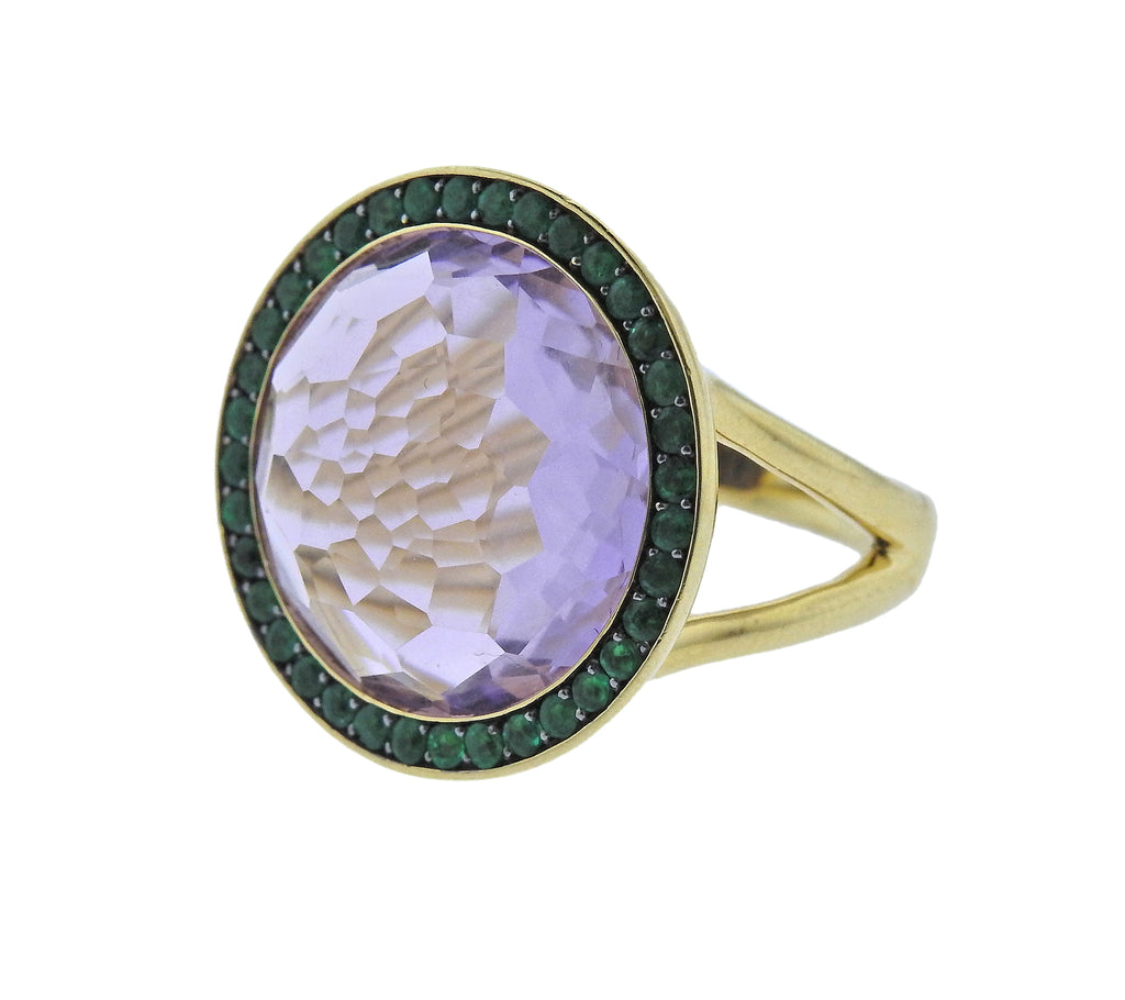 thumbnail image of Ippolita Lollipop Amethyst Emerald 18k Gold Ring