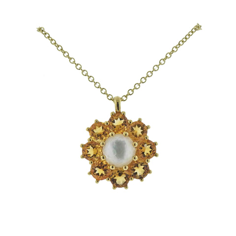 image of Ippolita Rock Candy Flower Citrine Mother of Pearl 18k Gold Necklace