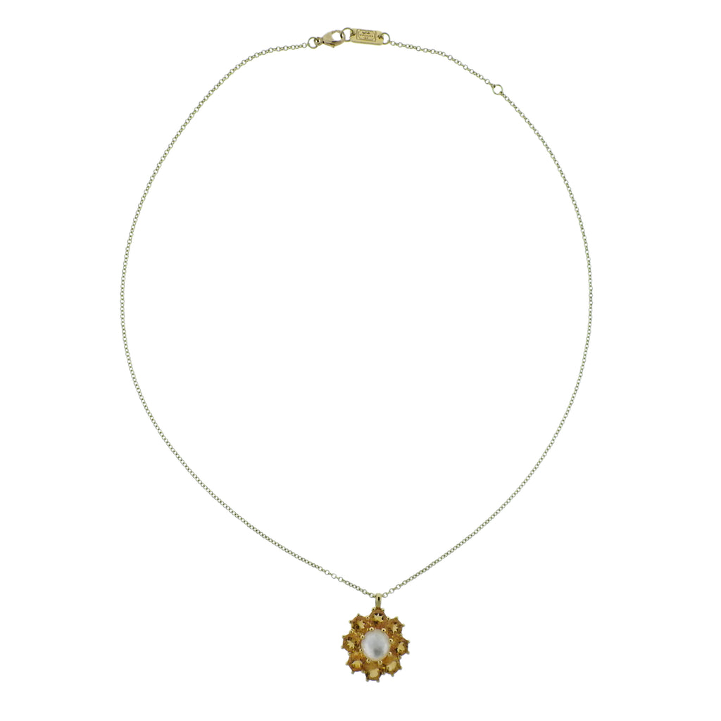 thumbnail image of Ippolita Rock Candy Flower Citrine Mother of Pearl 18k Gold Necklace