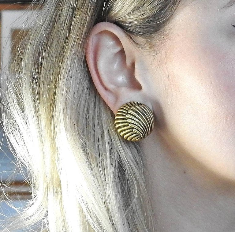thumbnail image of Large Buccellati Gold Button Earrings