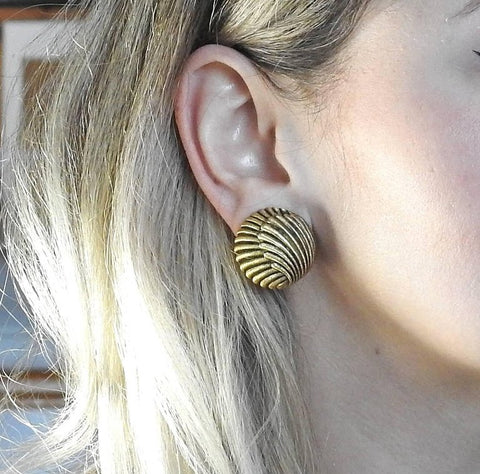 image of Large Buccellati Gold Button Earrings