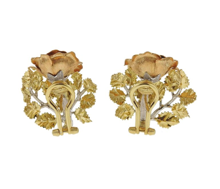 thumbnail image of Buccellati Tri Color Gold Rose Flower Earrings