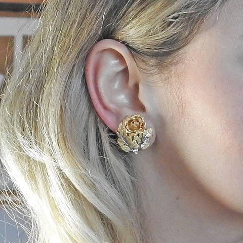 image of Buccellati Tri Color Gold Rose Flower Earrings