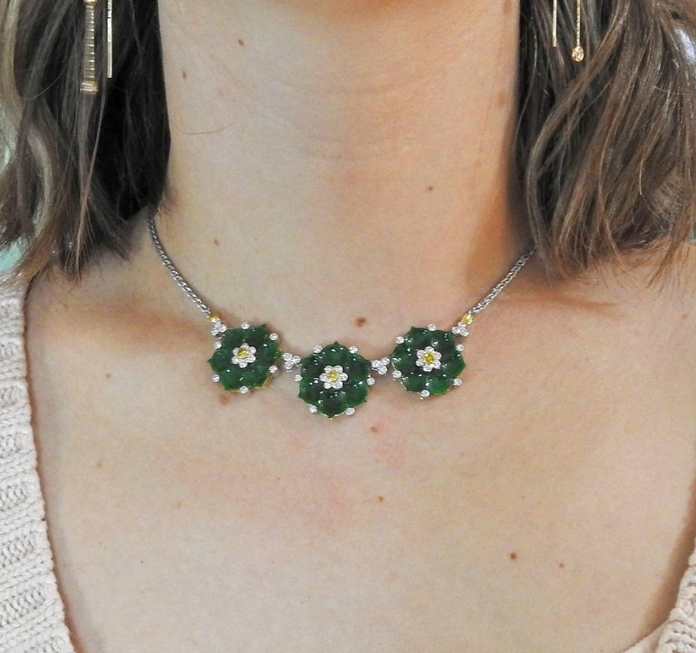 thumbnail image of Buccellati Jade Diamond Gold Flower Necklace