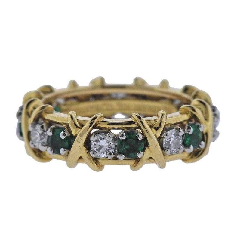 thumbnail image of Tiffany & Co Schlumberger Sixteen Stone Diamond Emerald Ring