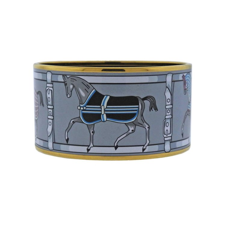 thumbnail image of Hermes Enamel Couvertures Nouvelle Extra Wide Bangle Bracelet