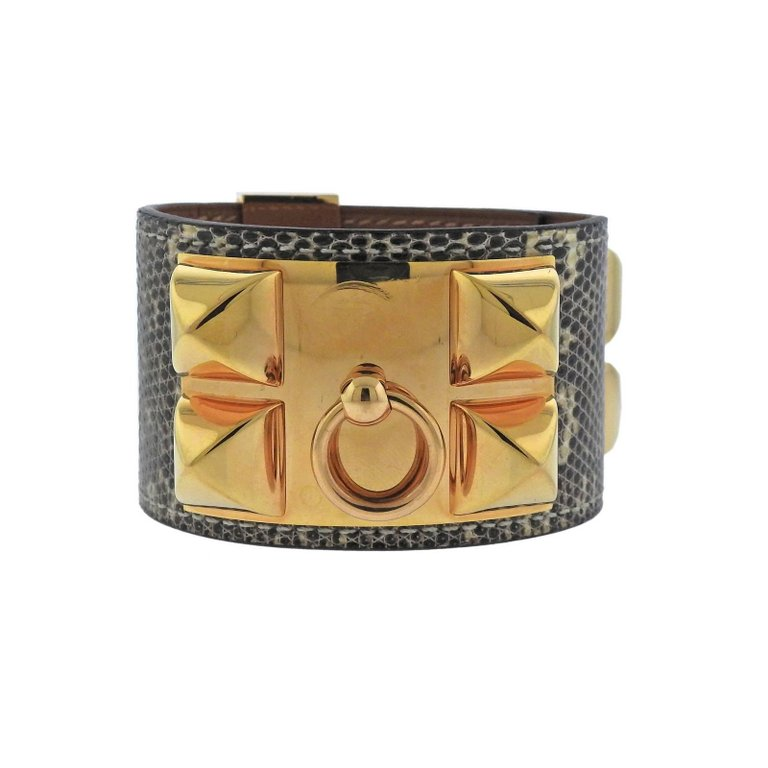thumbnail image of Hermes Collier de Chien Natura Lizard Leather Bracelet