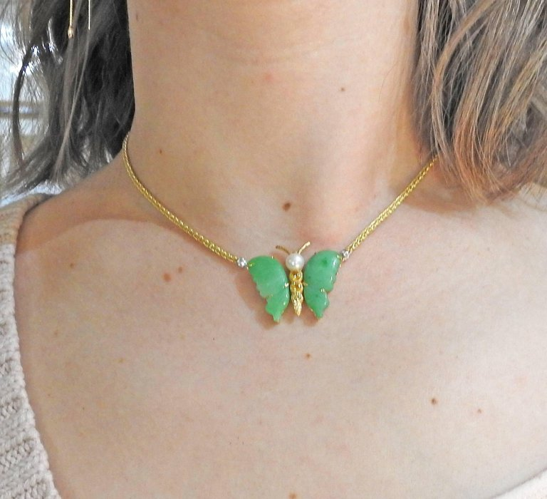 thumbnail image of Buccellati Jade Pearl Citrine Gold Butterfly Necklace