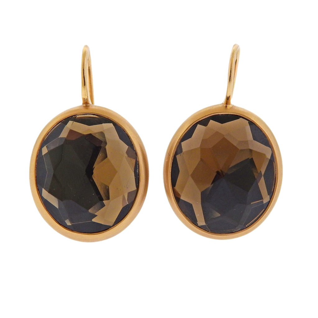 thumbnail image of Pomellato Narciso Smokey Quartz Gold Earrings