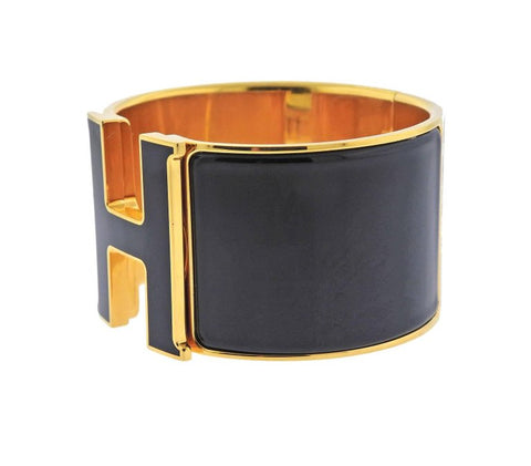 image of Hermes Chic H Extra Large Black Enamel Bangle Bracelet