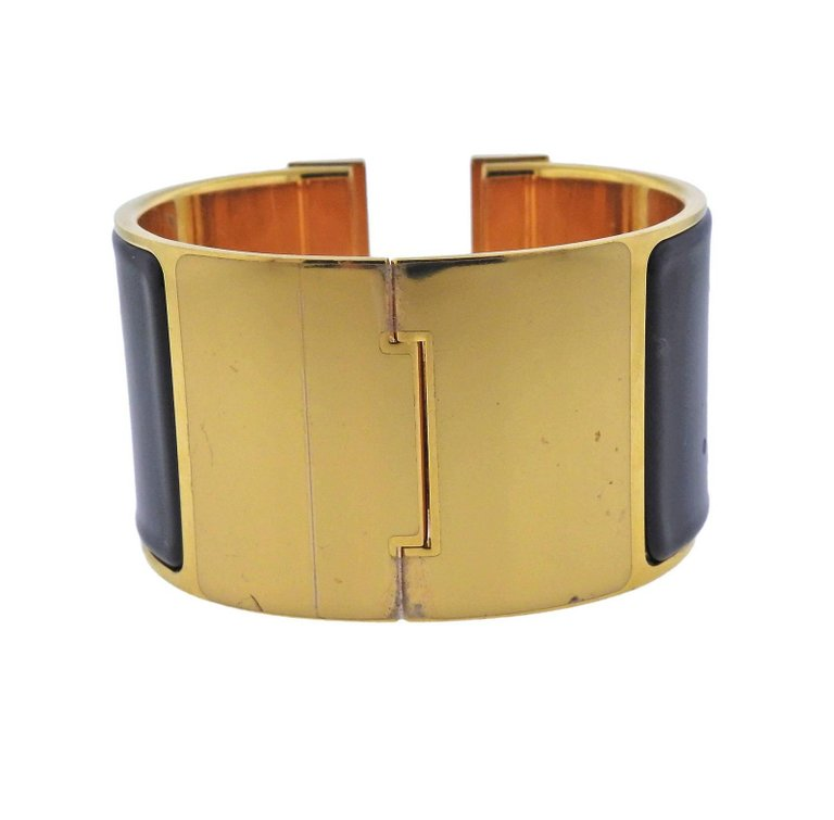 thumbnail image of Hermes Chic H Extra Large Black Enamel Bangle Bracelet