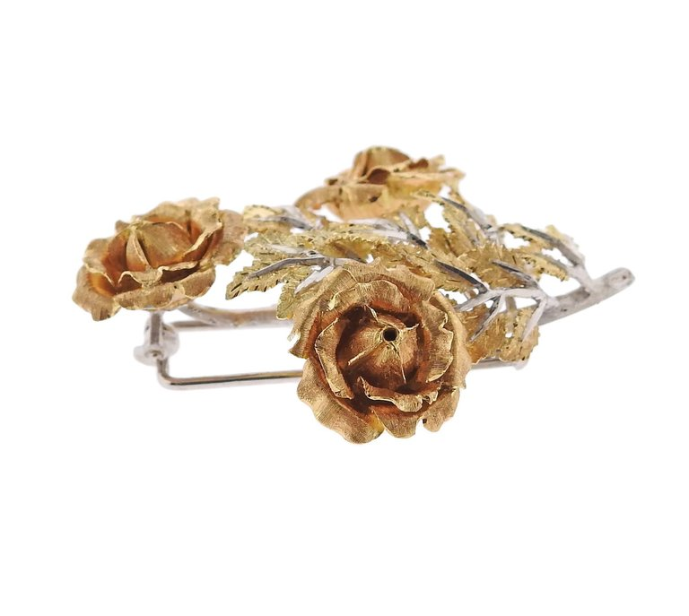 thumbnail image of Buccellati Tri Color Gold Rose Flower Brooch