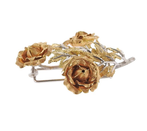 image of Buccellati Tri Color Gold Rose Flower Brooch