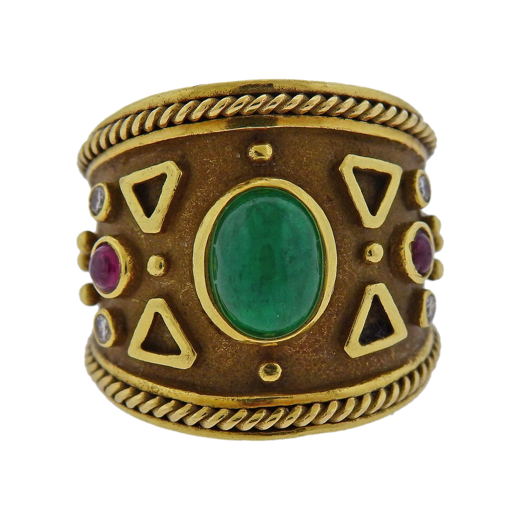 thumbnail image of Emerald Ruby Diamond Gold Wide Band Ring