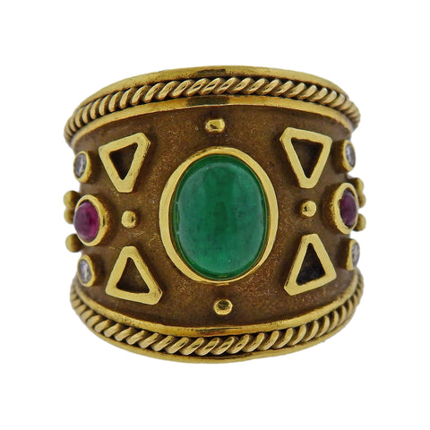 image of Emerald Ruby Diamond Gold Wide Band Ring