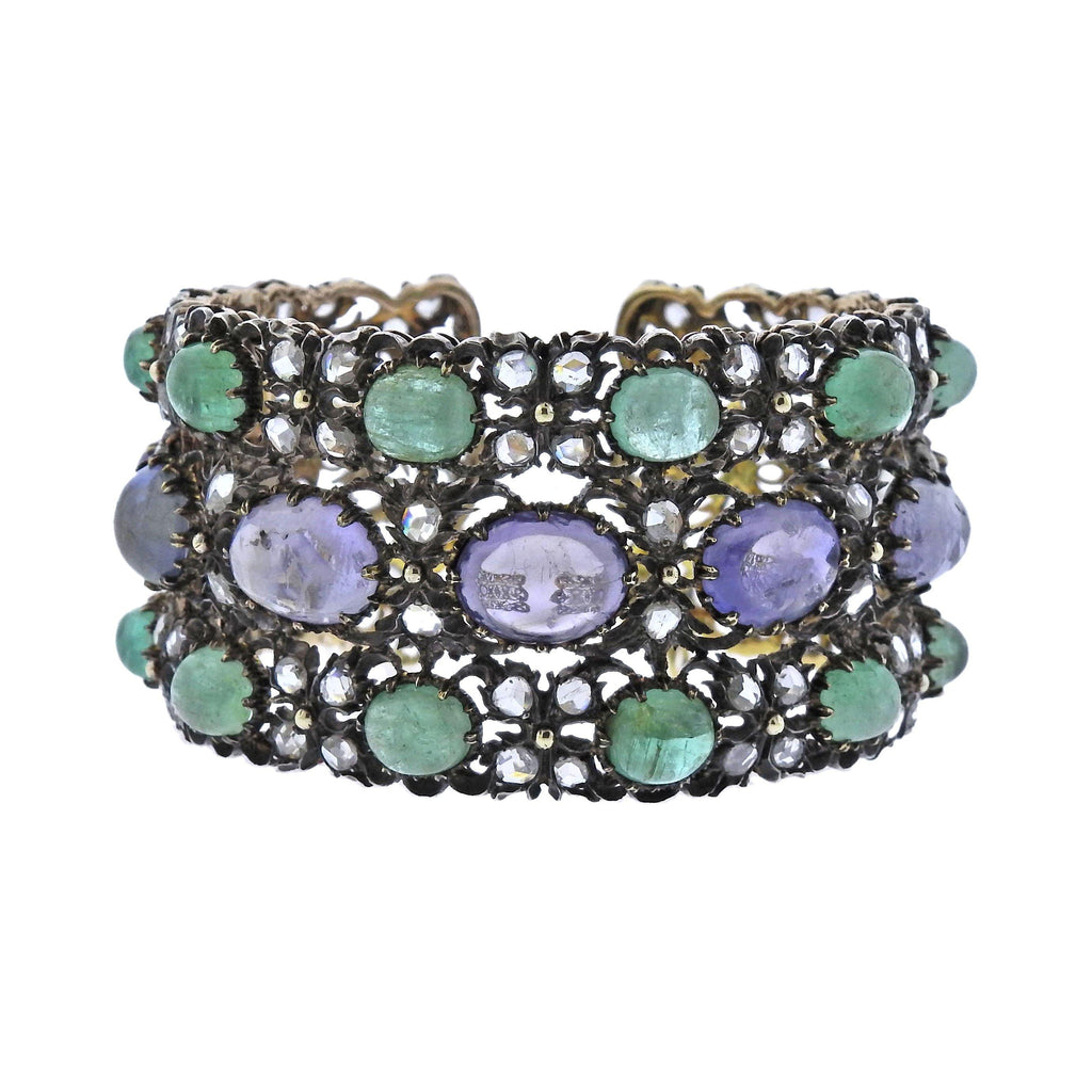 thumbnail image of Buccellati One of a Kind Sapphire Emerald Diamond Gold Bracelet