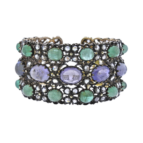 image of Buccellati One of a Kind Sapphire Emerald Diamond Gold Bracelet
