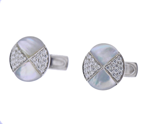 image of White Gold MOP Diamond Cufflinks