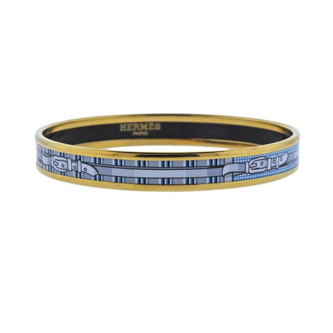 image of Hermes Belt Buckle Coaching Enamel Bangle Bracelet