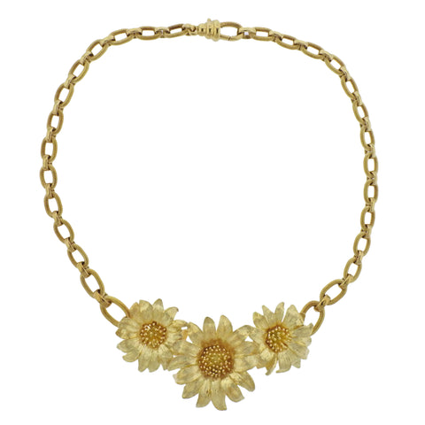 image of Bielka 18k Gold Sunflower Pendant Necklace