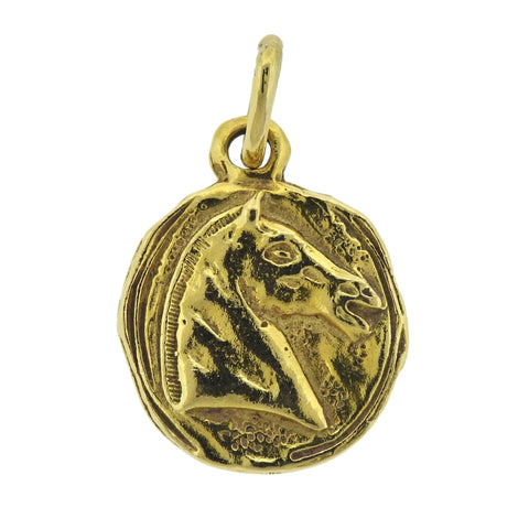 image of Chanel 18k Gold Horse Medallion Pendant