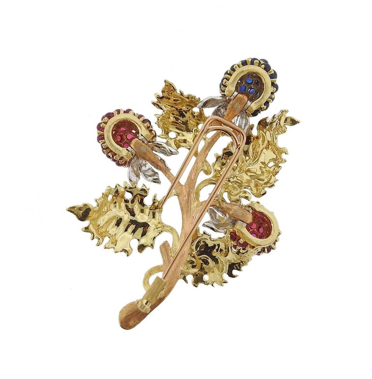 thumbnail image of Buccellati Ruby Sapphire Tri Color Gold Brooch Pin