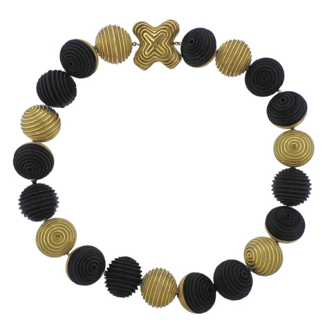 image of Christopher Walling Unusual Ebony 18k Gold Bead Necklace