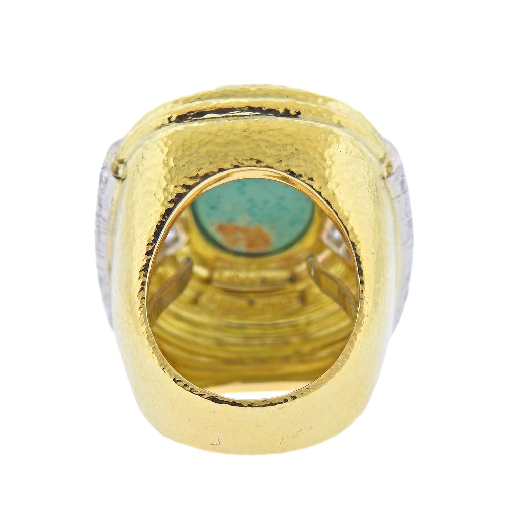thumbnail image of David Webb Gold Platinum Diamond Turquoise Cocktail Ring