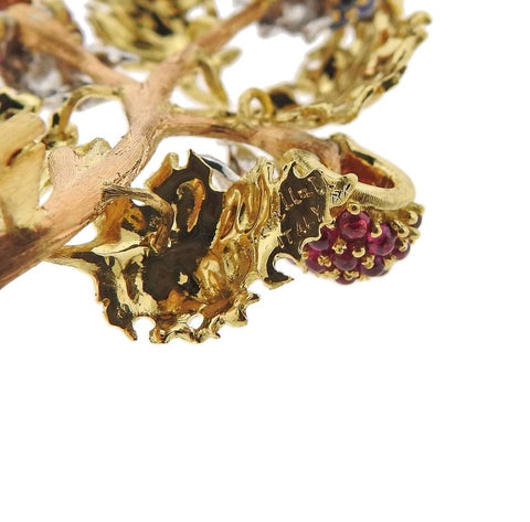 image of Buccellati Ruby Sapphire Tri Color Gold Brooch Pin