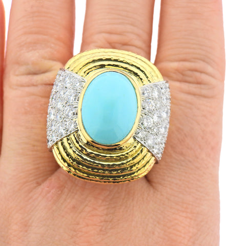 image of David Webb Gold Platinum Diamond Turquoise Cocktail Ring