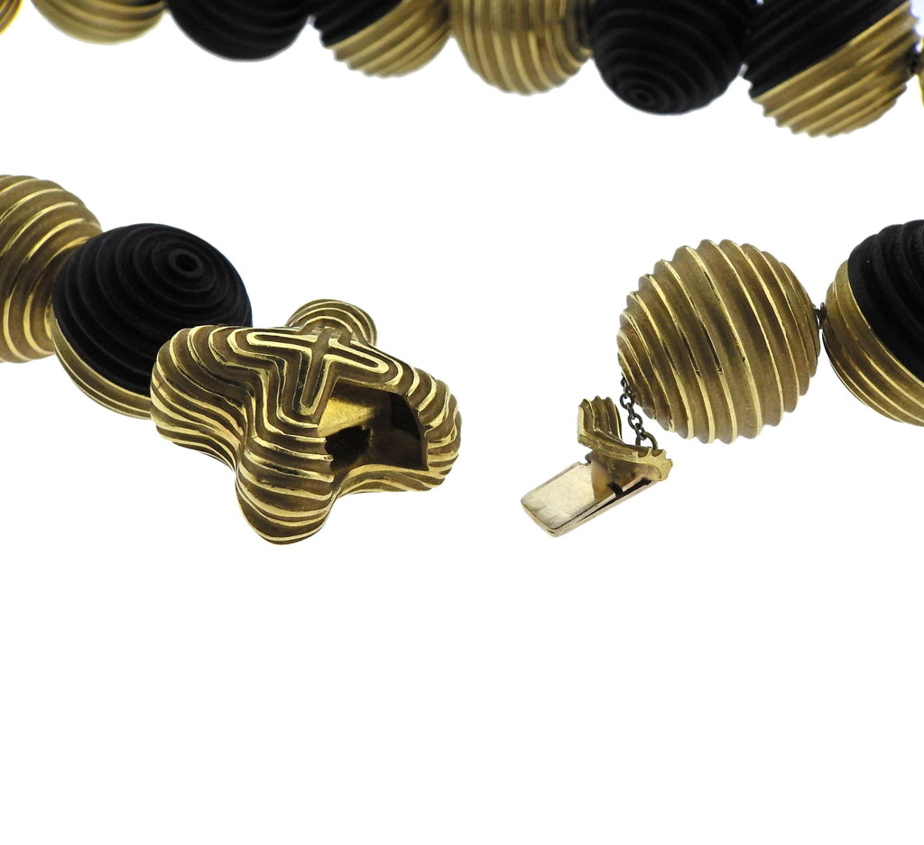 thumbnail image of Christopher Walling Unusual Ebony 18k Gold Bead Necklace