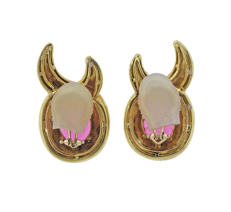 thumbnail image of Verdura Pink Tourmaline Gold Earrings
